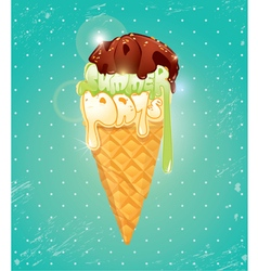 Vanilla ice cream cone with chocolate glaze vector
