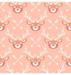 Hipster seamless pattern with deer and arrows vector