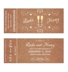 Ticket for wedding invitation with wine glass vector