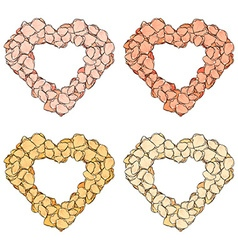 Set isolated heart of rose petals handmade in vector