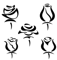 Rose set of symbols vector