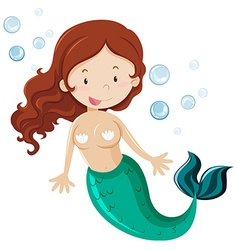 Mermaid with green fin vector