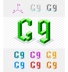 Isometric font from the cubes Letter G vector image