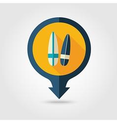Surfboard pin map flat icon summer vacation vector