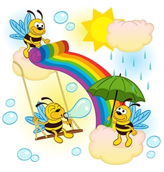 Bees playing in sky with a rainbow vector