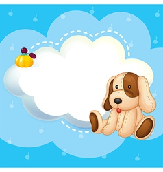 A blue stationery template with a puppy vector image