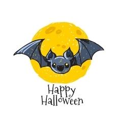 Bat on moon background vector