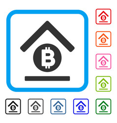 bitcoin bank roof framed icon vector image