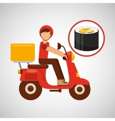 Delivery boy ride motorcycle japanese cuisine vector