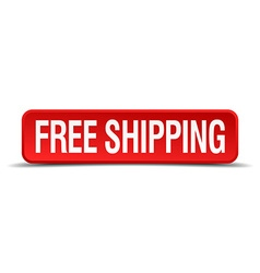 Free shipping red 3d square button isolated on vector