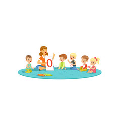 Group of little kids sitting on carpet and vector