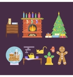 House christmas room interior vector