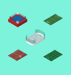 Isometric lifestyle set of volleyball american vector