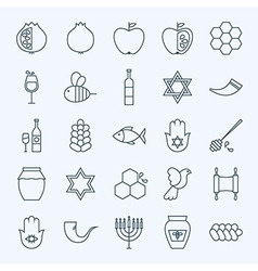 Line Holiday Rosh Hashanah Icons Set vector image