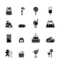 monochrome black icons of sweet biscuits and vector image