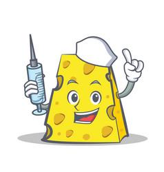 Nurse cheese character cartoon style vector