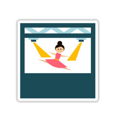Paper sticker on white background ballerina vector