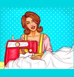 Pop art woman dressmaker seamstress or sewer vector