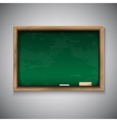 Realistic blackboard on wooden background vector image vector image