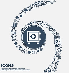 Safe icon in the center around the many beautiful vector