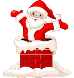 Santa Claus jumping from chimney vector image
