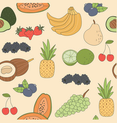 Seamless pattern hand drawn fruits food vector