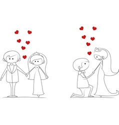 Set of Groom and bride with flying hearts vector image