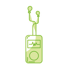 silhouette mp3 player with rhythm cardiac and vector image