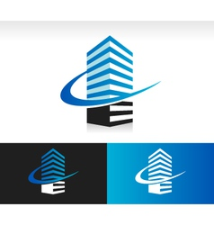 Swoosh modern building logo icon vector