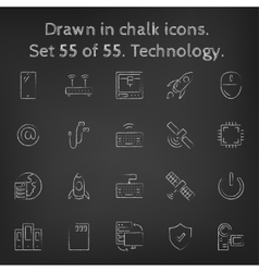 Technology icon set drawn in chalk vector