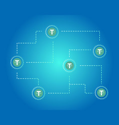 Tether cryptocurrency blockchain background style vector