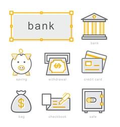 Thin line icons set bank vector image