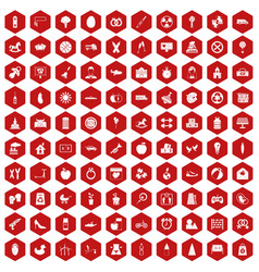 100 maternity leave icons hexagon red vector