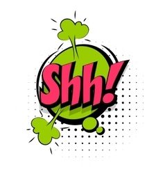 Comic sound effects pop art word lettering shh vector