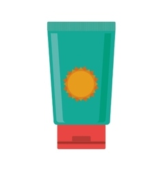 Silhouette with big bottle green of sunscreen vector