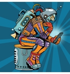Retro robot astronaut in the thinker pose reads vector