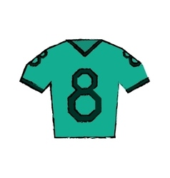 Drawing green jersey american football tshirt vector