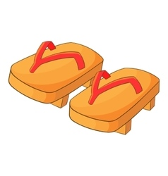 Japanese geta footwear icon cartoon style vector