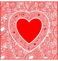 ornate Valentin Day card with heart vector image