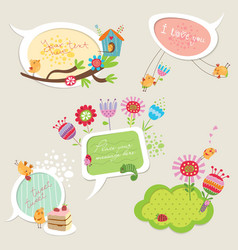 Set of colorful speech bubbles with birds vector