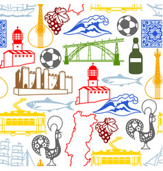 Portugal seamless pattern portuguese national vector