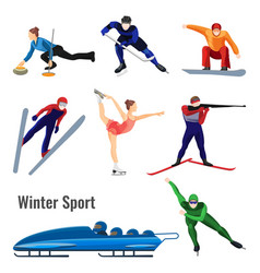 Set of winter sport activities vector