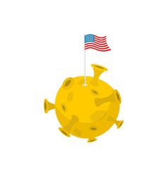 America flag on moon usa banner on yellow planet vector