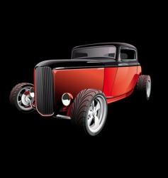 red hot rod on black vector image
