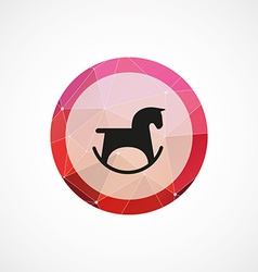 Horse toy circle pink triangle background icon vector