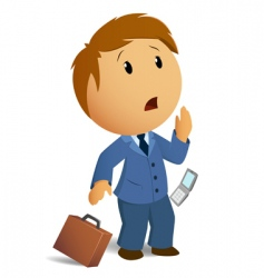Shocked businessman with throw case vector