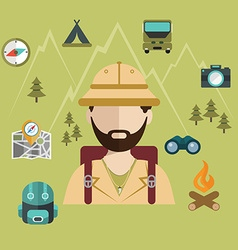 Wanderlust tourist person camping ans safari vector