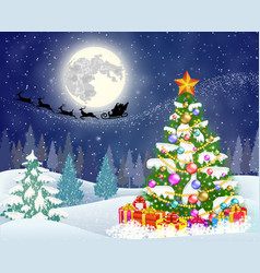 Christmas tree on the background of night sky vector