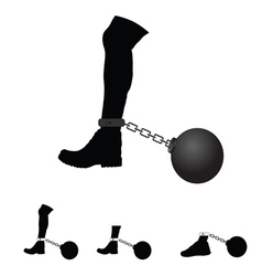 Prison ball on leg vector