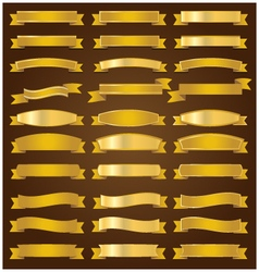 Golden ribbons set vector